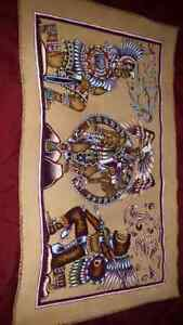Beautiful Piece Of Mayan Art Hand painted on leather.