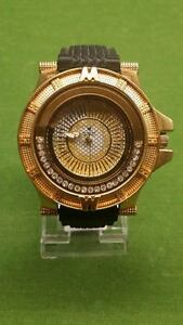 Diamond Master men's gold watch with spinning diamonds