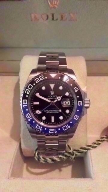 rolex gmt ii master batman sapphire glass ceramic bezal 2.5x date mag waterproof 150g weight