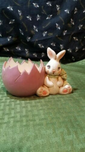 Vintage Ceramic Hand Painted Easter Bunny and Egg
