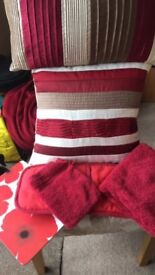 Cushions - 2 large and 2 bolser in red/brown/cream pleated stripe