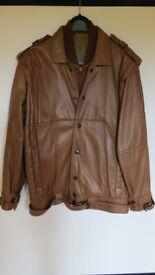 Italian, vintage, premium quality, tan leather blouson jacket