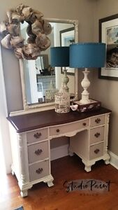 Antique Painted Vanity/Desk with Mirror- Stunning! Must See!