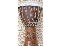 Museum Quality Hand Carved Tribal War African Drum Mancave