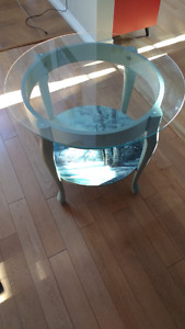 Unique side table with oil painting shelf and glass top