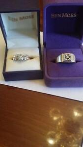 2 Ladies 14k set rings and a Men's 14k with 10k gold ring.