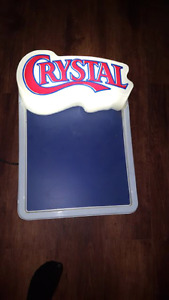 crystal beer chalk board with light