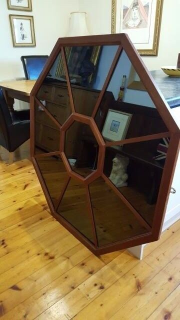 large solid wood hexagonal mirror, window mirror