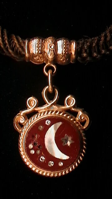 ANTIQUE HAIR WORK WATCH CHAIN WITH FOB