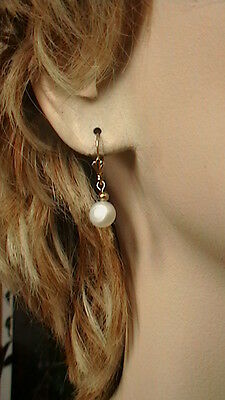 14K YELLOW GOLD 8MM BUTTON WHITE PEARL LEVERBACK EARRINGS White Gold Button Earrings