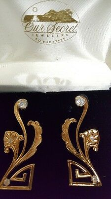 New Vintage Finely Detailed Art Deco EarringsSolid 14 kt Gold Posts Russian CZ's