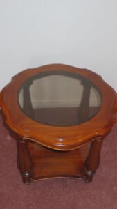 Solid Wood, Decor, Table ,With Smoked Glass Center