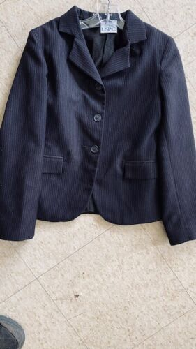 Devon Aire COMPETITION Hunt COAT *Youth 10 NAVY* Pinstripe *VGC %100 Polyester