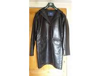Vintage Long Black Leather Coat, Unworn
