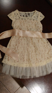 Champagne Lace Flower Girl Dress with headband