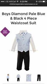 Boys diamond pale blue & black 4 piece waistcoat suit