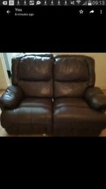 As new real leather recliner 2 large seater sofa modern stylish