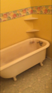 Antique claw foot tub and taps