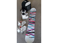 Ladies snowboard, bindings, boots and boot bag