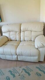 Two seater leather cream sofa - rarely used, excellent condition - still available 26 Nov - REDUCED!