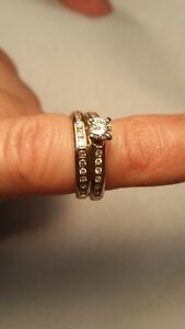 Diamond Embedded Gold Ring and Band Edmonton Edmonton Area image 1
