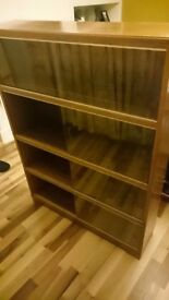 Unusual Retro wood (oak) glass display cabinets