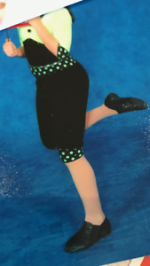 BEAUTIFUL 2 PIECE VELVETY COSTUME - BLACK AND LIME GREEN