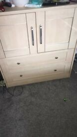 Solid wood 2x draws and small cupboard