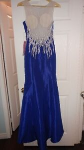 Long Blue Navy BCBG Prom Dress
