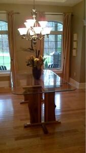 Black Walnut and Glass Dining/Dinette Table