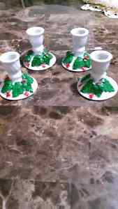 4 Christmas candle holders