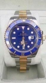 rolex submariner blue face two tone sapphire glass 2.5x date mag waterproof glide lock clasp