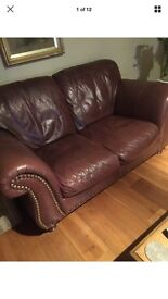 Large Brown real leather 2 seater sofa with armchair with round roll Studded arms.