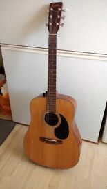 Acoustic guitar with new set of strings and cover