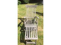 Garden Furniture - Steamer Chairs (a pair) with original cushions for sale.