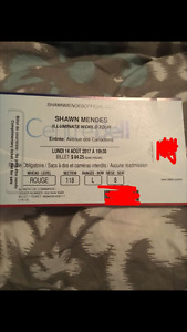 2 Shawn Mendes Tickets-Montreal August 2017