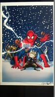 Spiderman & Friends Lithograph Print Signed by Artist