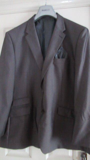 "Mansize Suit - Wool Blend Grey Jacket 52"" R Trousers 40"""