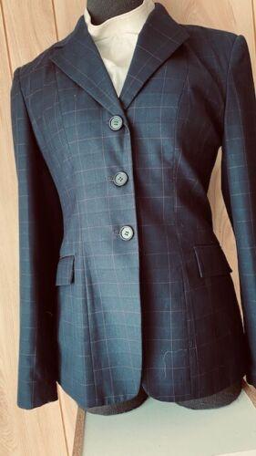 WELLINGTON Show COAT Ladies Size 2R *Navy Windowpane*VGC* Washable