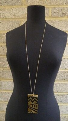 House of Harlow By Nicole Ritchie Boho Chic Gold/Black Long Pendant Necklace