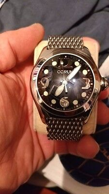 Corum Black Dial Bubble Boutique Quartz 163.150.20 Leather strap + mesh bracelet