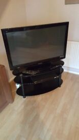 42 inch Panasonic Viera TX-P42U10B TV for sale - with 3 tier glass stand & dvd player