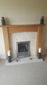 Oak Fire Surround with marble hearth and gas fire
