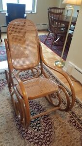 Original 1970s Thonet Style Bentwood Rocking Chair Wooden Cane