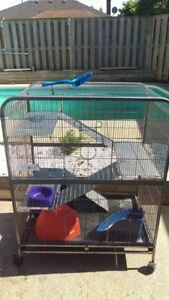 4 level rat/ferret/small mammal cage and accessories for sale!