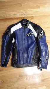 Alpinestar leather motorcycle jacket with perforated sections