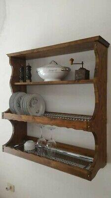 Piattaia in legno credenza pensile mensola scolapiatti cucina muratura rustica