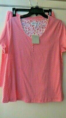 Karen Neuburger L Pink Polka Dot Short Sleeve Bermuda Shorts 2 Pc Pajama's