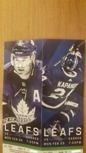 LEAFS GAME -Feb 25 vs. Buffalo $350 for Pair in 300s Section