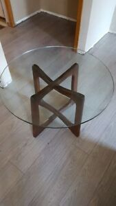 Glass Coffee Table with wood base